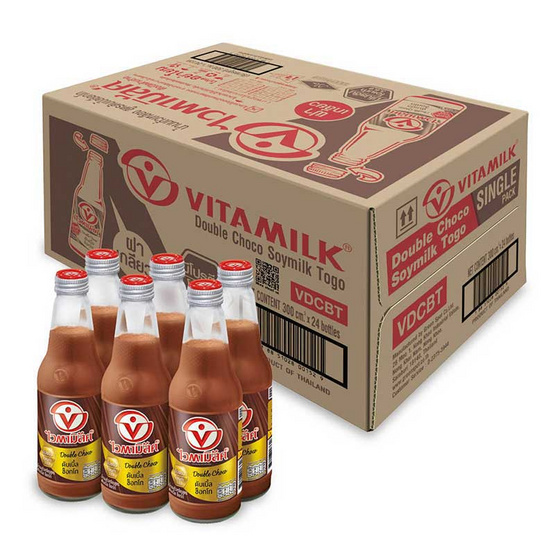 ไวตามิ้ลค์ นมถั่วเหลืองUHT ทูโก รสดับเบิ้ลช็อกโก 300 มล. (ยกลัง 24 ขวด)