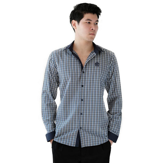FQ&L  เสื้อเชิ้ตผู้ชาย ( MMFLJ-105-S7) สี NAVY BLUE