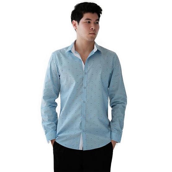 FQ&L  เสื้อเชิ้ตผู้ชาย ( MMFLJ-108-S7) สี NAVY BLUE