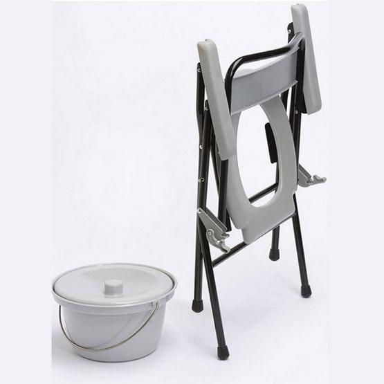 Abloom เก้าอี้นั่งถ่ายเหล็กชุบ พร้อมพนักพิง