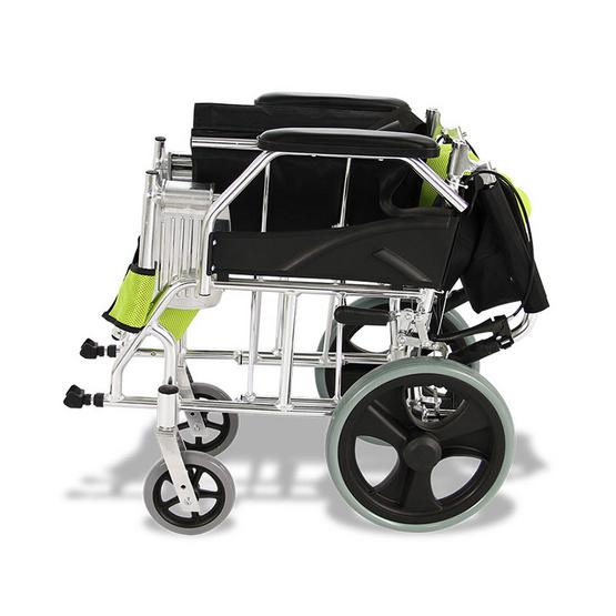 Fasicare TAVEL รถเข็นผู้ป่วยอะลูมิเนียมอัลลอย รุ่น FAL-111G เบาะสีเขียว มีเบรกมือ ล้อเล็ก ขนาดล้อ 30 ซม.