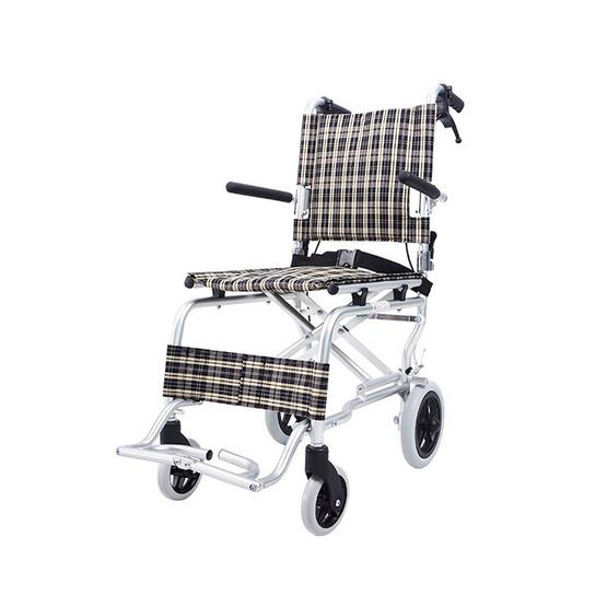 Fasicare TAVEL รถเข็นผู้ป่วยอะลูมิเนียมอัลลอย รุ่น FAL-115YB เบาะลายสก๊อตสีเหลืองตัดดำ ฟรี!กระเป๋าใส่รถเข็น