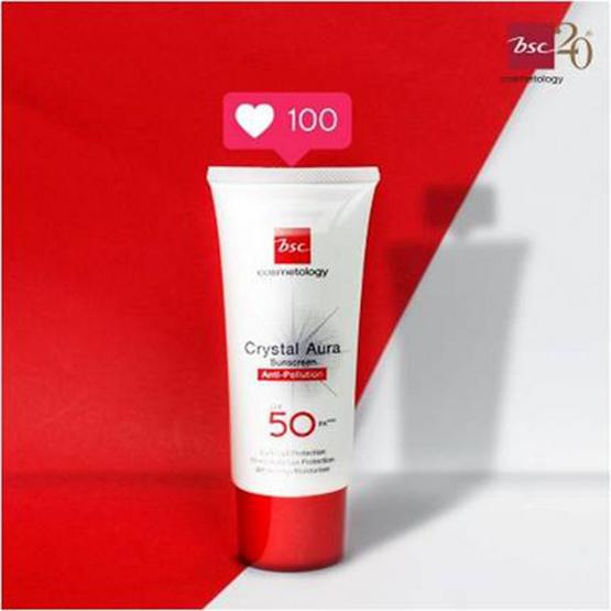 BSC Cosmetology ครีมกันแดด Crystal Aura Anti Pollution SPF50 PA+++ 25 กรัม