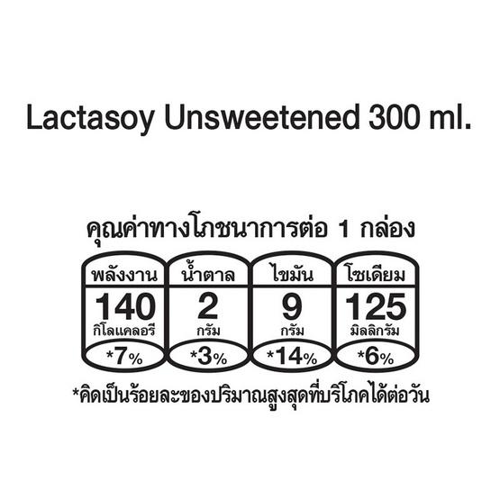 แลคตาซอย นมถั่วเหลือง UHT รสจืด 300 มล. (ยกลัง 36 กล่อง)