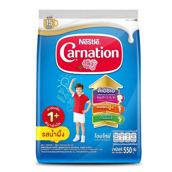 นมผงคาร์เนชั่น1+ สูตร3 รสน้ำผึ้ง 550 กรัม