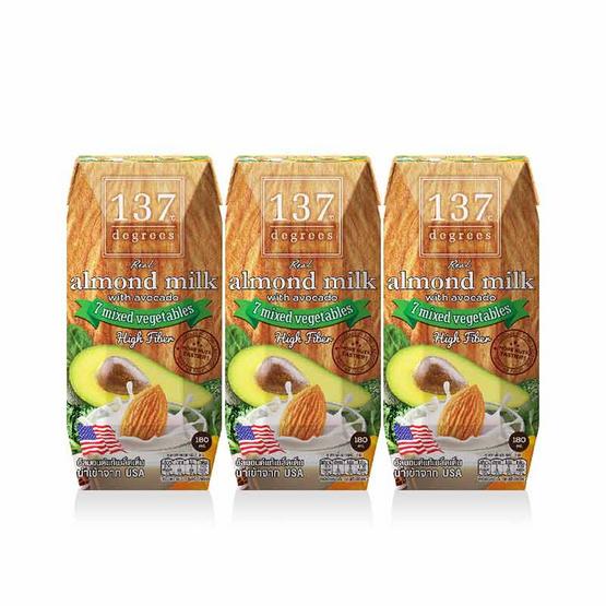 137 ดีกรี นมอัลมอนด์ สูตรอโวคาโดและผักรวม 180 มล. (แพ็ก 3 กล่อง)