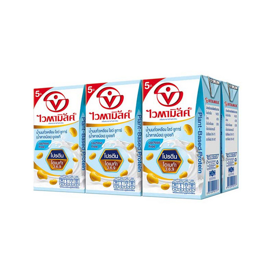 ไวตามิ้ลค์ นมถั่วเหลืองUHT สูตรน้ำตาลน้อย 125 มล. (ยกลัง 48 กล่อง)
