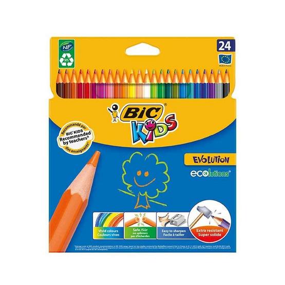 BIC Kids (1แถม1) ดินสอสีไม้ Evolution 24 สี