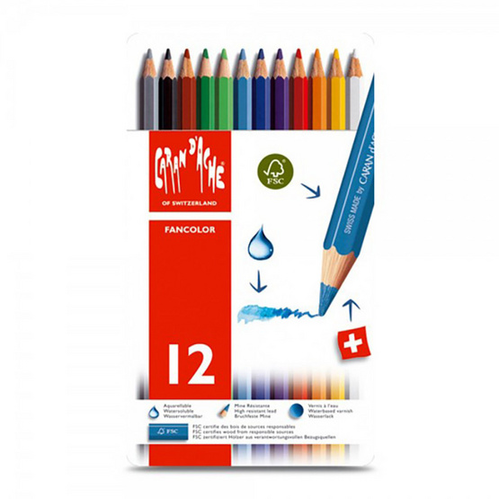 Caran D'Ache สีไม้ระบายน้ำ Fancolor 12 สี กล่องโลหะ 1288.312