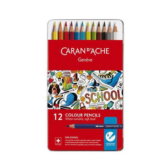 Caran D'Ache ชุดสีไม้ระบายน้ำ รุ่น School Line 12 สี กล่องโลหะ 1290.312