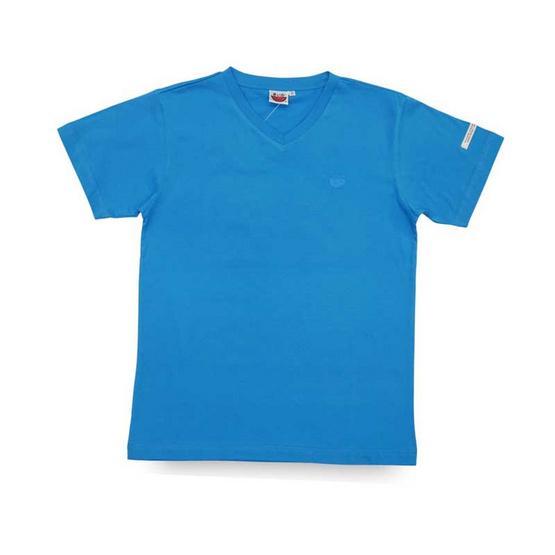 แตงโม เสื้อยืดคอวีรุ่นออริจินัล สี 41 ฟ้าเข้ม