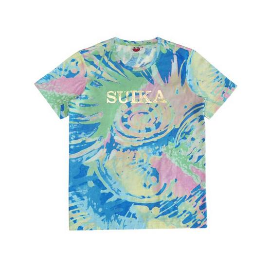 แตงโม เสื้อยืดคอกลมลายมัดย้อม SUIKA สีทอง ฟ้าอ่อน